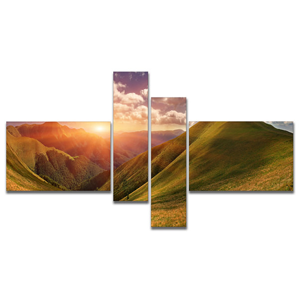 Designart Sunrise Over Green Mountains MultipanelLandscape Photo Canvas Art Print - 4 Panels