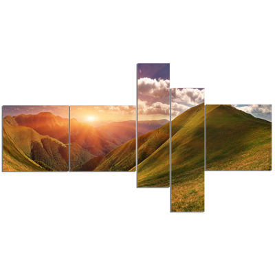 Designart Sunrise Over Green Mountains MultipanelLandscape Photo Canvas Art Print - 5 Panels