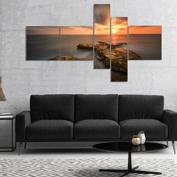 Designart Sunset At Atlantic Coast Spain Multipanel Seascape Photography Canvas Art Print - 5 Panels