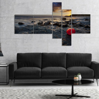 Designart Sunset At Livorno Italy Multipanel Landscape Photography Canvas Art Print - 5 Panels