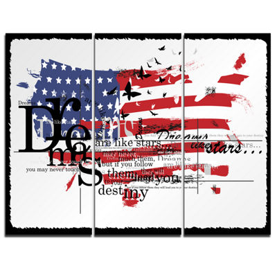 Designart Vintage Fashion Usa Flag Map Canvas ArtPrint - 3 Panels