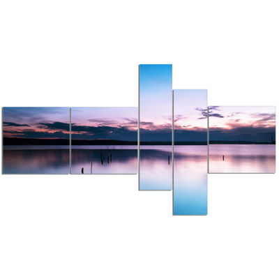 Designart Sunset Over Lake Blue Everywhere Multipanel Seashore Canvas Art Print - 5 Panels