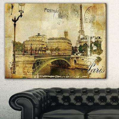 Designart Vintage Paris Abstract Cityscape Art -3Panels