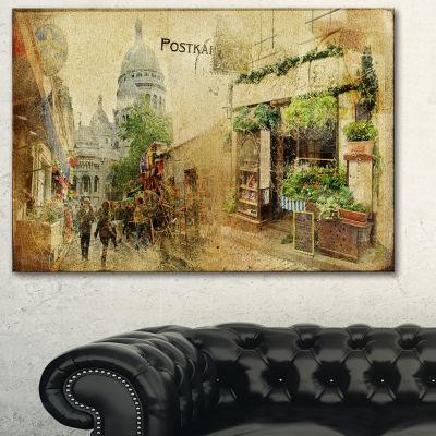 Designart Vintage Parisian Cards Contemporary Canvas Art Print