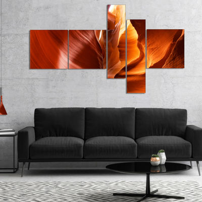 Designart Sunshine In Antelope Canyon Multipanel Landscape Photo Canvas Art Print - 5 Panels