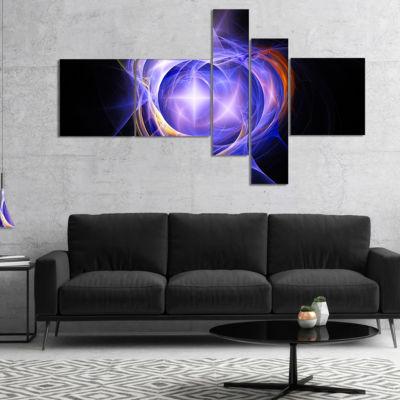 Design Art Supernova Explosion Blue Multipanel Abstract Print On Canvas - 5 Panels