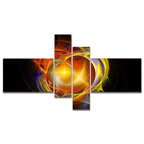 Designart Supernova Explosion In Black MultipanelAbstract Print On Canvas - 4 Panels
