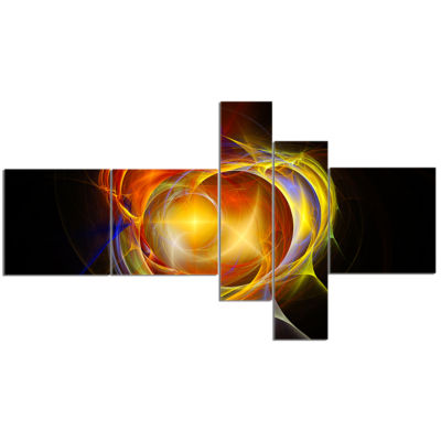 Designart Supernova Explosion In Black MultipanelAbstract Print On Canvas - 5 Panels