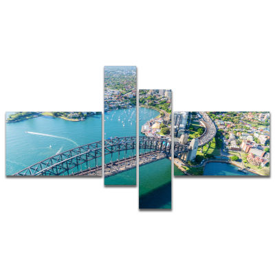 Design Art Sydney Aerial View Multipanel CityscapePhotography Canvas Art Print - 4 Panels