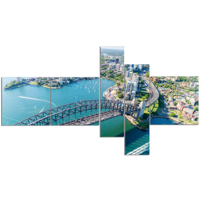 Designart Sydney Aerial View Multipanel CityscapePhotography Canvas Art Print - 5 Panels