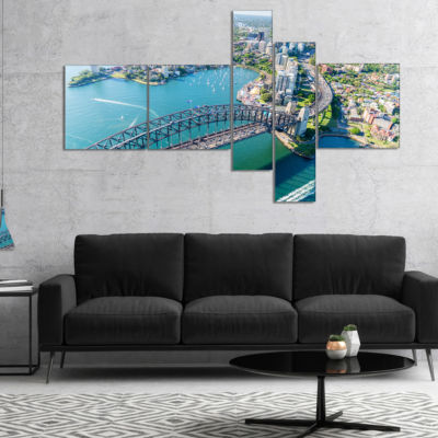 Design Art Sydney Aerial View Multipanel CityscapePhotography Canvas Art Print - 5 Panels