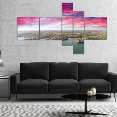 Designart Sydney Under Red Cloud Multipanel Cityscape Photo Canvas Art Print - 5 Panels