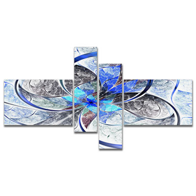 Designart Symmetrical Blue Fractal Flower Multipanel Abstract Print On Canvas - 4 Panels