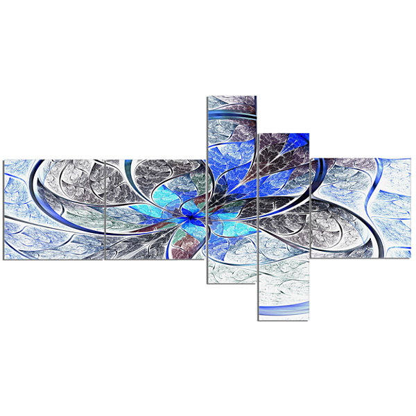 Designart Symmetrical Blue Fractal Flower Multipanel Abstract Print On Canvas - 5 Panels