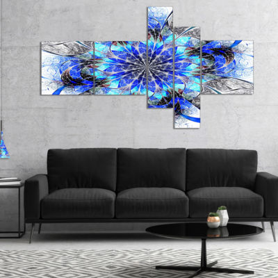 Designart Symmetrical Blue Fractal Flower Multipanel Abstract Wall Art Canvas - 5 Panels
