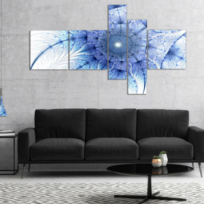 Designart Symmetrical Blue Fractal Flower On WhiteMultipanel Abstract Canvas Print - 5 Panels