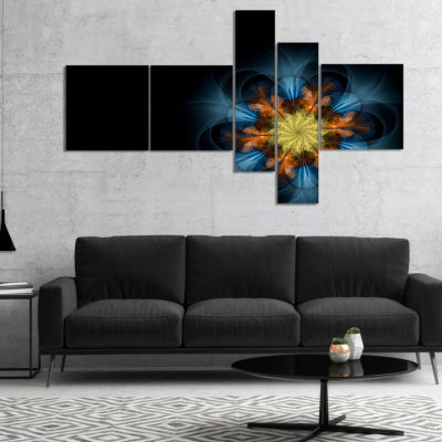 Designart Symmetrical Blue Orange Fractal FlowerMultipanel Abstract Print On Canvas - 5 Panels