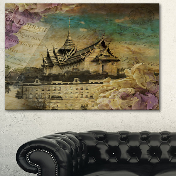 Designart Vintage Style Sky Castle Abstract Artwork