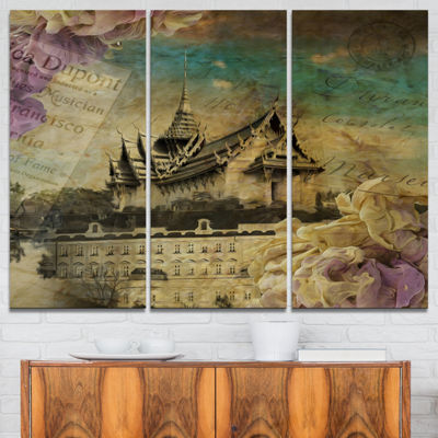 Designart Vintage Style Sky Castle Abstract Artwork - 3 Panels