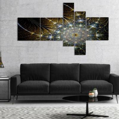 Designart Symmetrical Brown Fractal Flower Multipanel Abstract Print On Canvas - 4 Panels
