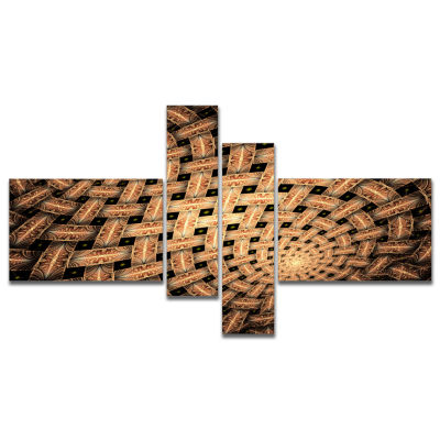 Design Art Symmetrical Brown Fractal Flower Multipanel Abstract Wall Art Canvas - 4 Panels