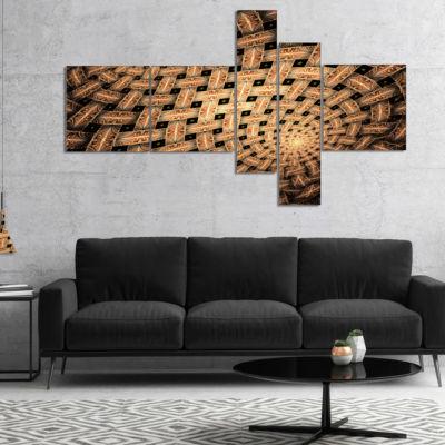 Designart Symmetrical Brown Fractal Flower Multipanel Abstract Wall Art Canvas - 5 Panels