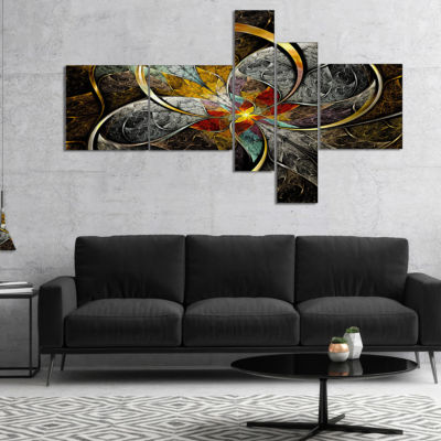 Designart Symmetrical Brown Fractal Flowers Multipanel Abstract Print On Canvas - 5 Panels