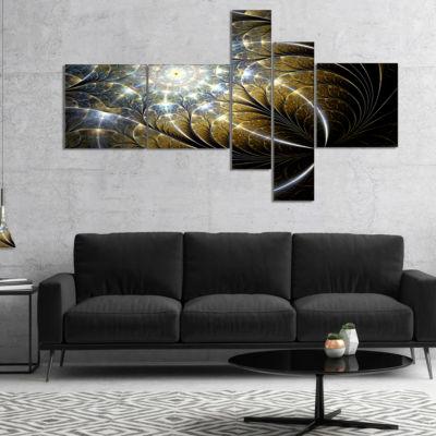 Designart Symmetrical Dark Golden Fractal FlowerMultipanel Abstract Canvas Print - 5 Panels