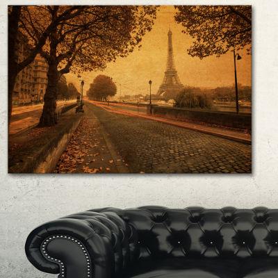 Designart Vintage Style View Of Paris Landscape Photography Canvas Print - 3 Panels