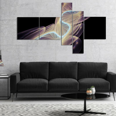Designart Elegant Fantasy Fractal Design Multipanel Abstract Canvas Wall Art Print - 5 Panels
