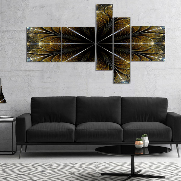 Designart Symmetrical Gold Fractal Flower Multipanel Abstract Canvas Art Print - 4 Panels