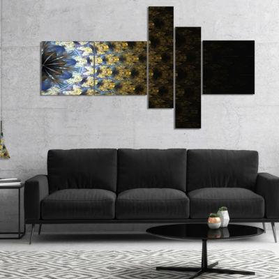 Designart Symmetrical Gold Fractal Flower Multipanel Abstract Wall Art Canvas - 4 Panels