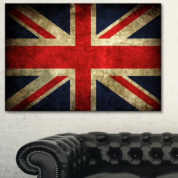 Designart Vintage Uk Flag Contemporary Canvas ArtPrint