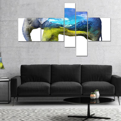 Designart Elephant Double Exposure Illustration Multipanel Large Animal Canvas Art Print - 4 Panels