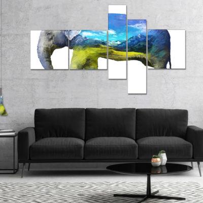 Designart Elephant Double Exposure Illustration Multipanel Large Animal Canvas Art Print - 5 Panels