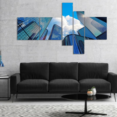 Designart Elevated Business Buildings Multipanel Cityscape Canvas Art Print - 4 Panels