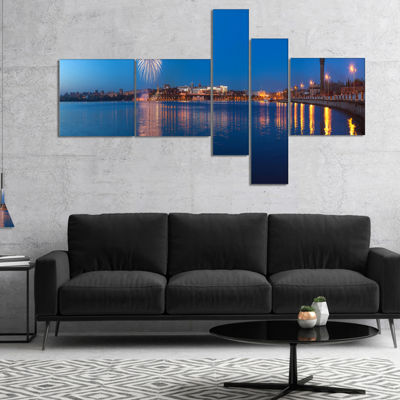 Designart Embankment Of City Panorama Multipanel Cityscape Canvas Art Print - 5 Panels