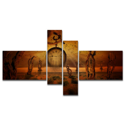 Designart End Of Time Multipanel Abstract Canvas Art Print - 4 Panels