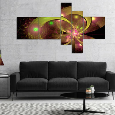 Designart Symmetrical Green Fractal Flower Multipanel Floral Art Canvas Print - 5 Panels