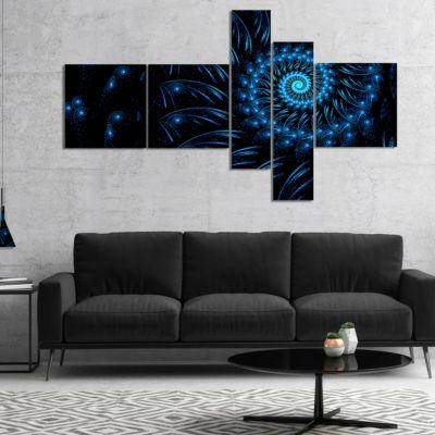 Designart Endless Spiral Snail Blue Multipanel Abstract Canvas Art Print - 5 Panels