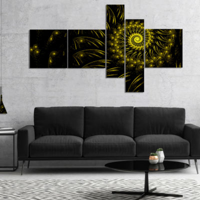 Designart Endless Spiral Snail Yellow Multipanel Abstract Canvas Art Print - 4 Panels