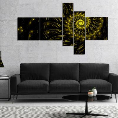 Designart Endless Spiral Snail Yellow Multipanel Abstract Canvas Art Print - 5 Panels