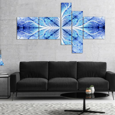 Designart Symmetrical Light Blue Pattern Multipanel Floral Art Canvas Print - 5 Panels