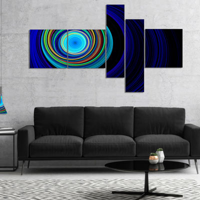 Designart Endless Tunnel Blue Ripples Multipanel Abstract Canvas Art Print - 4 Panels