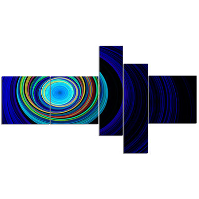 Designart Endless Tunnel Blue Ripples Multipanel Abstract Canvas Art Print - 5 Panels