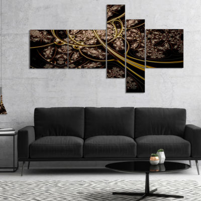 Designart Symmetrical Metallic Fabric Multipanel Abstract Print On Canvas - 5 Panels