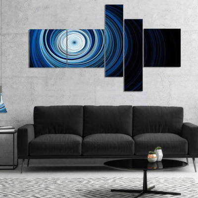 Designart Endless Tunnel Light Blue Ripples Multipanel Abstract Canvas Art Print - 5 Panels
