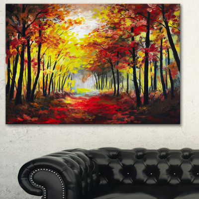 Designart Walk Through Autumn Forest Landscape ArtPrint Canvas - 3 Panels