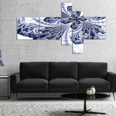 Designart Symmetrical Purple Fractal Flower Multipanel Abstract Canvas Art Print - 5 Panels