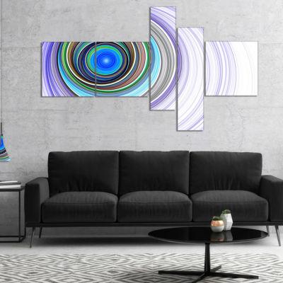 Designart Endless Tunnel Purple Ripples MultipanelAbstract Canvas Art Print - 5 Panels